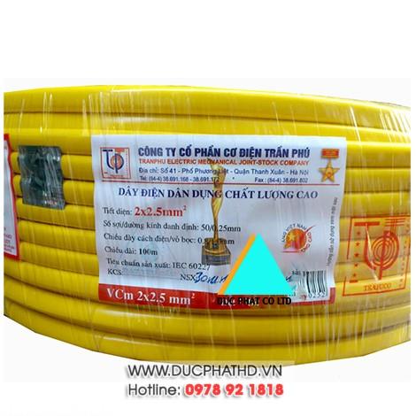 Dây điện đôi mềm Trần Phú 2x2,5 (100m/cuộn)